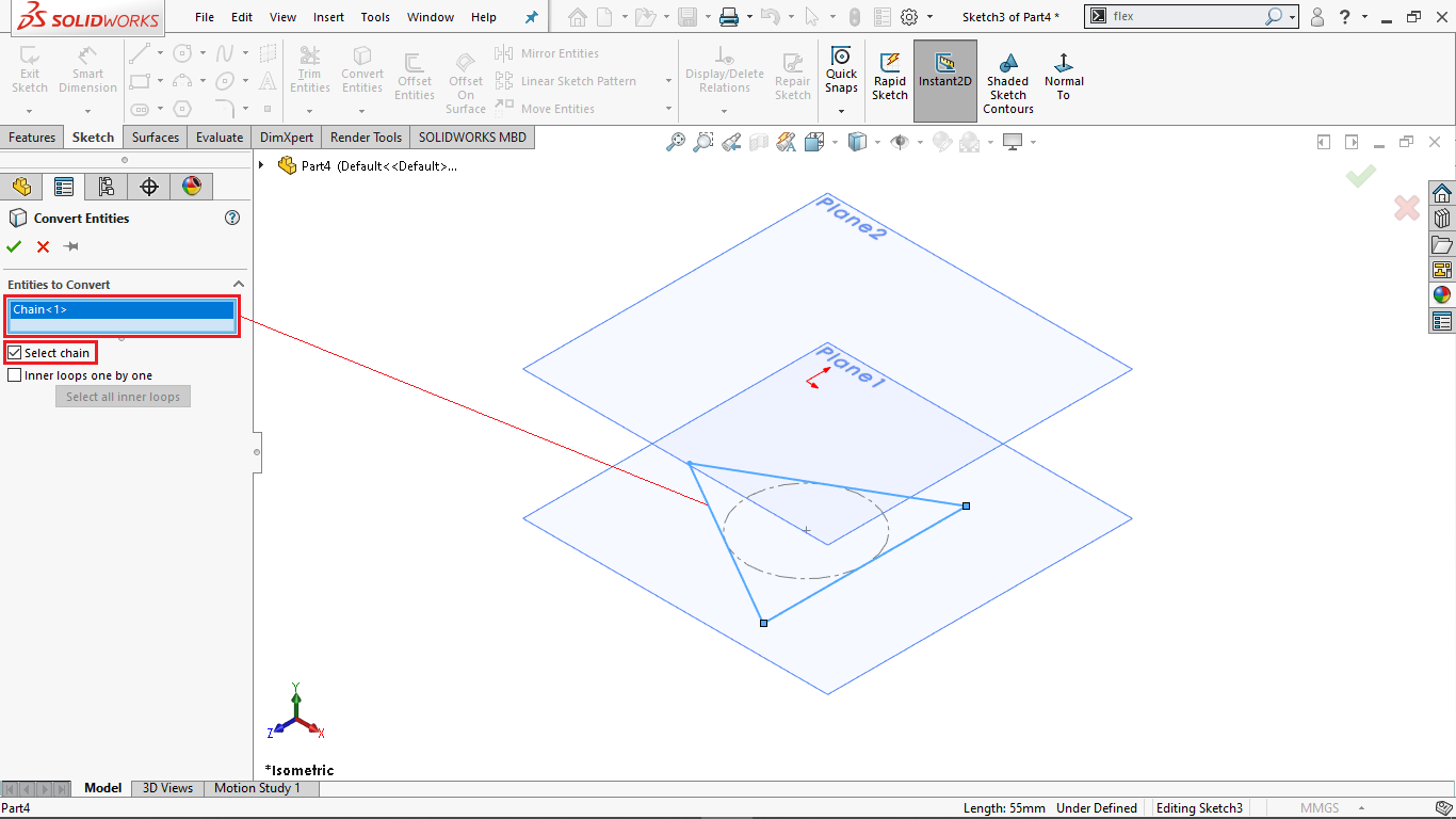 Convert Entities command in Solidworks