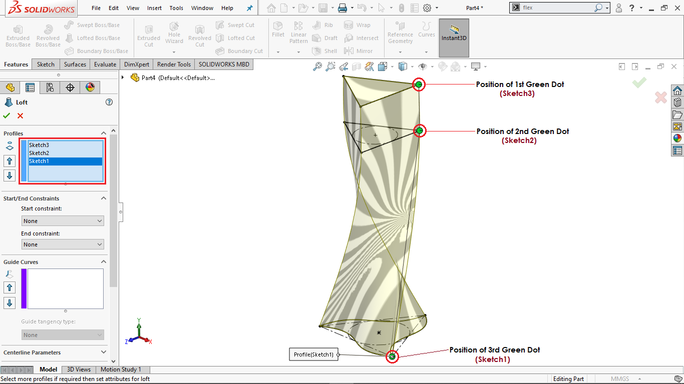 Loft Boss/ Base feature in Solidworks
