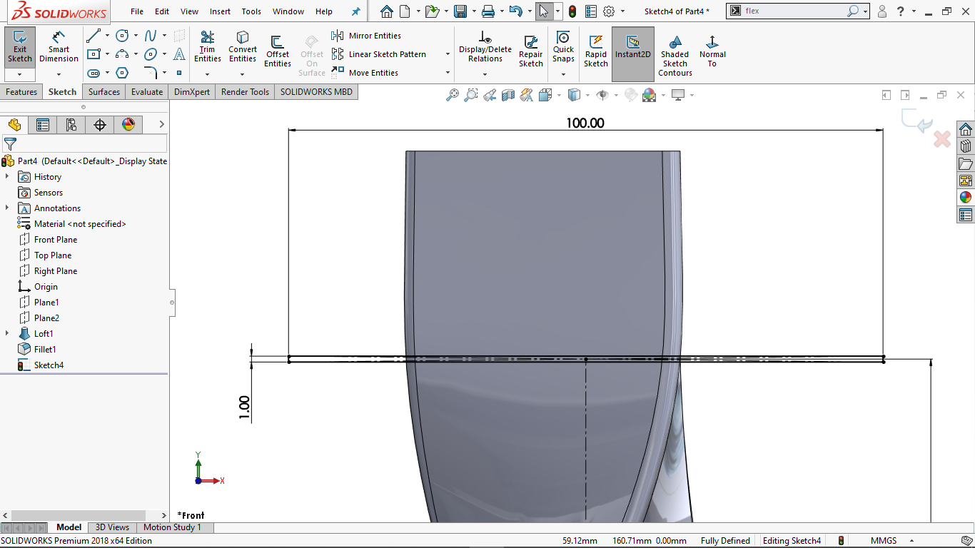 Fully defined center rectangle in Solidworks