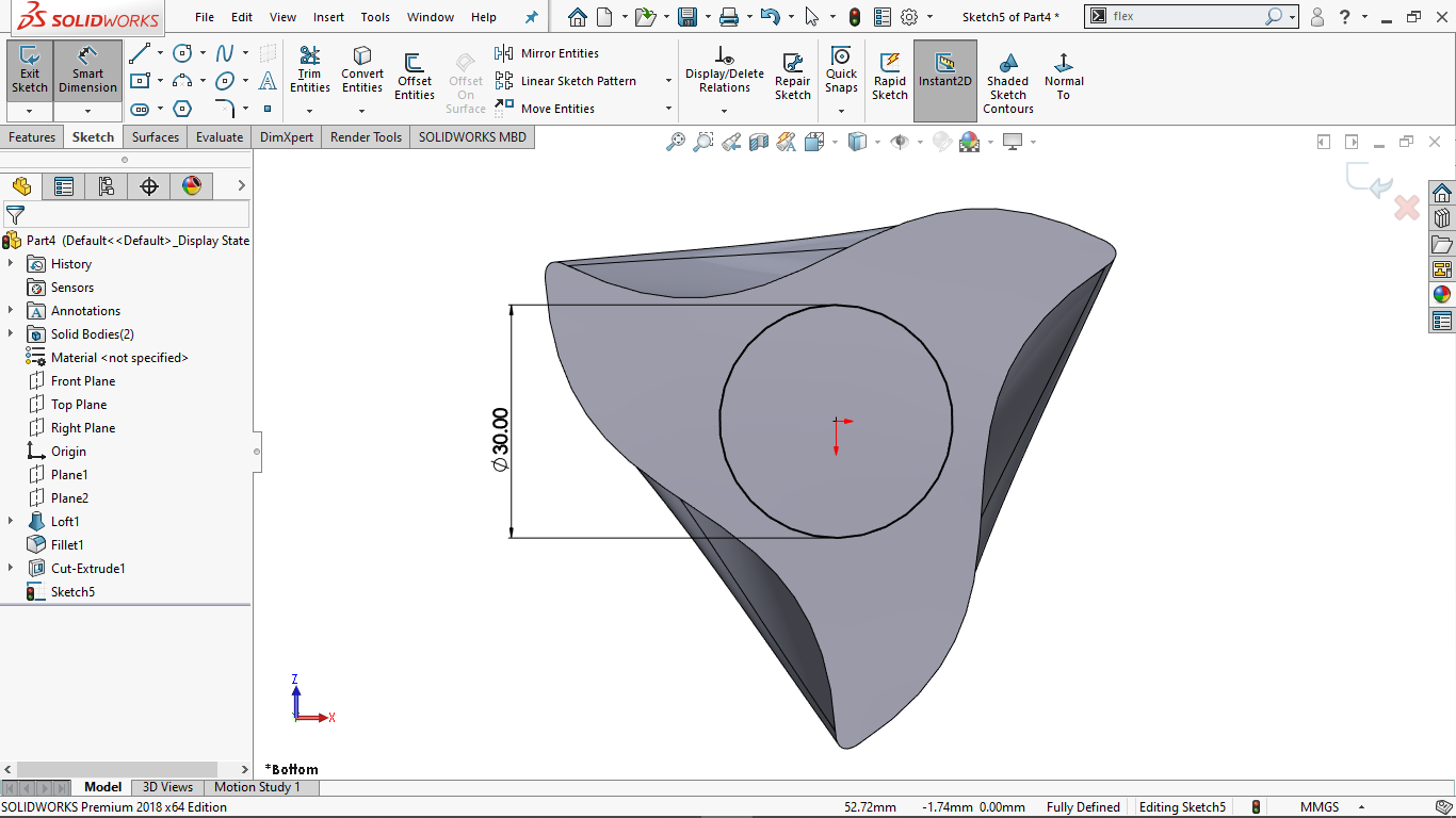 Circle in Solidworks