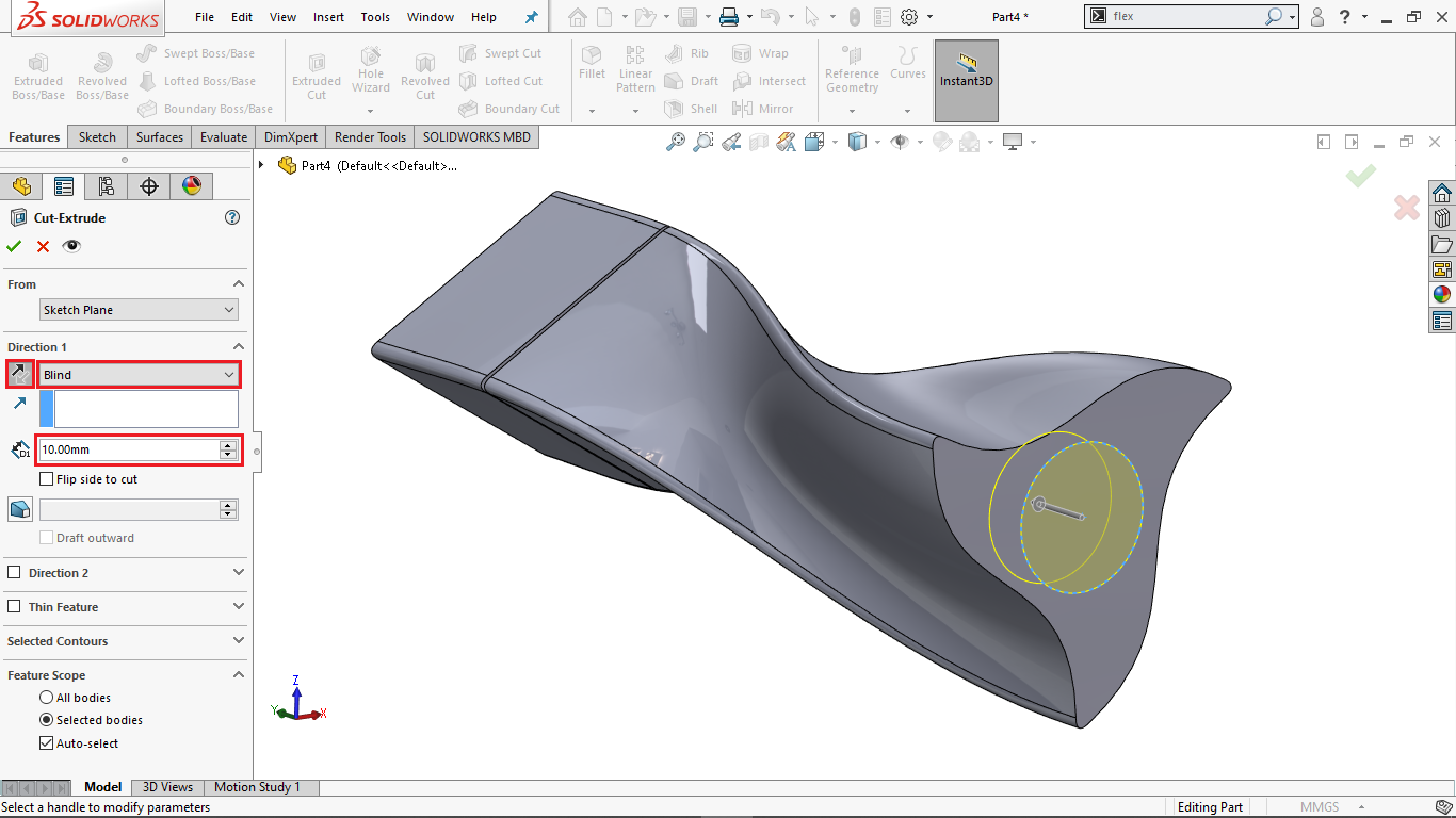 Extrude Cut in Solidworks