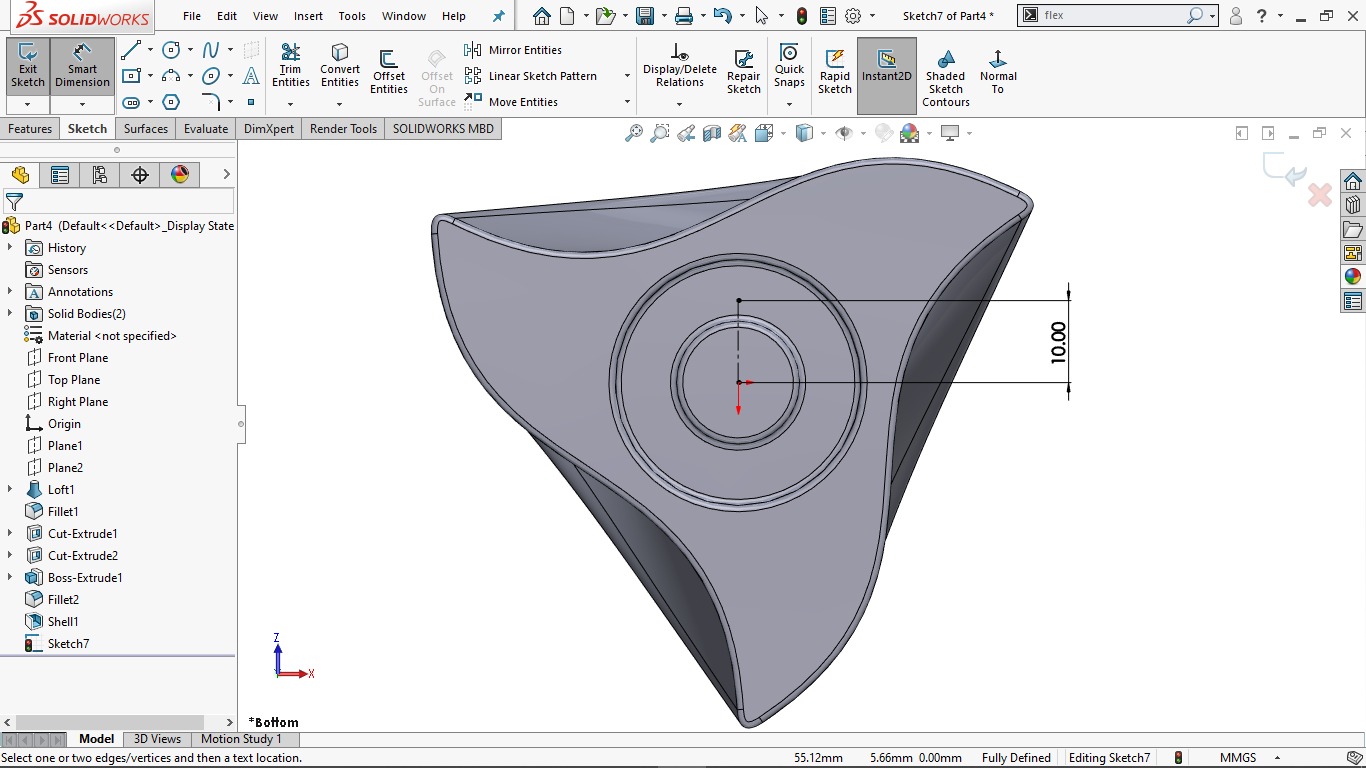 Fully defined vertical centerline in solidworks