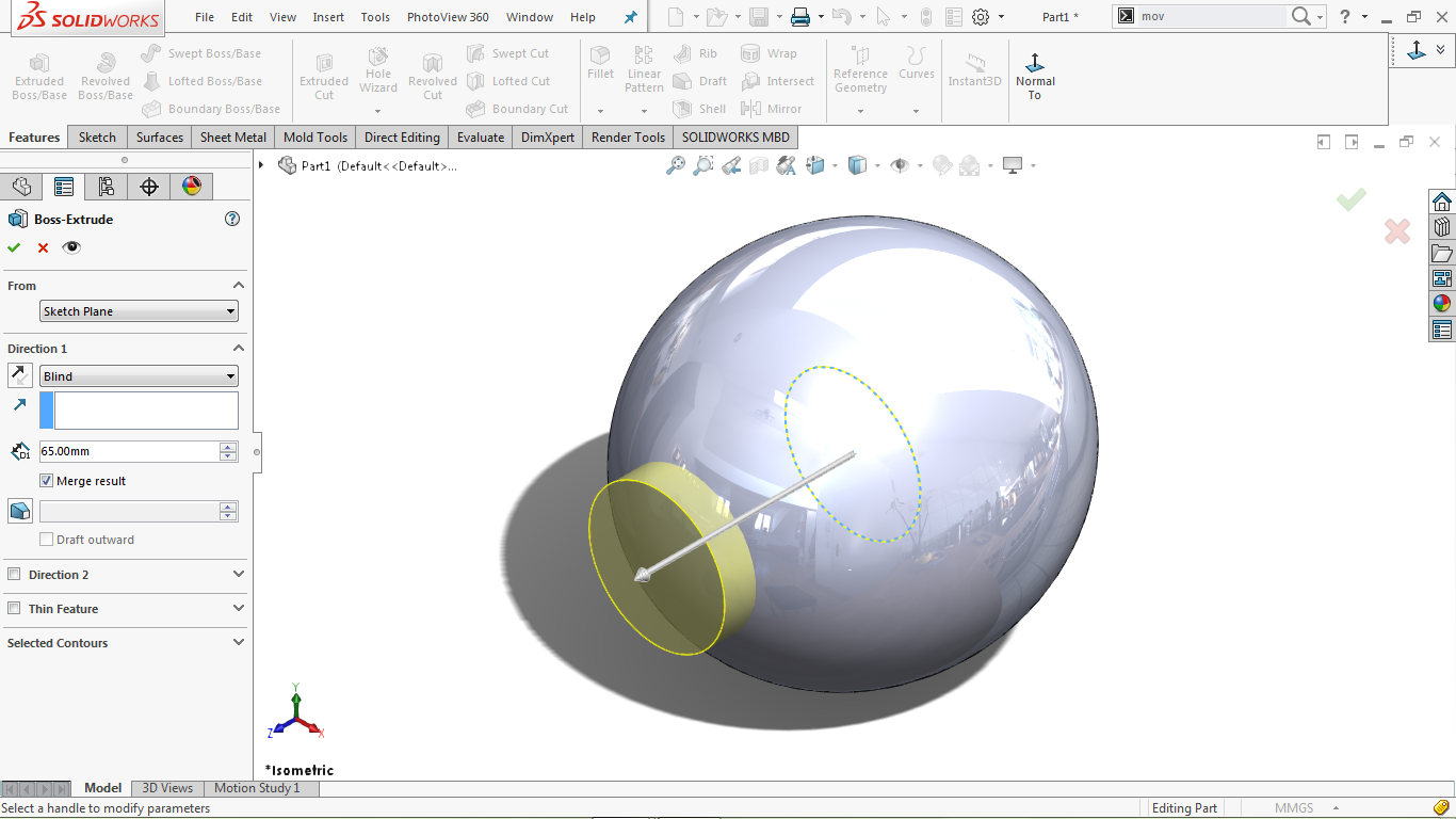 Extrude feature in solidworks