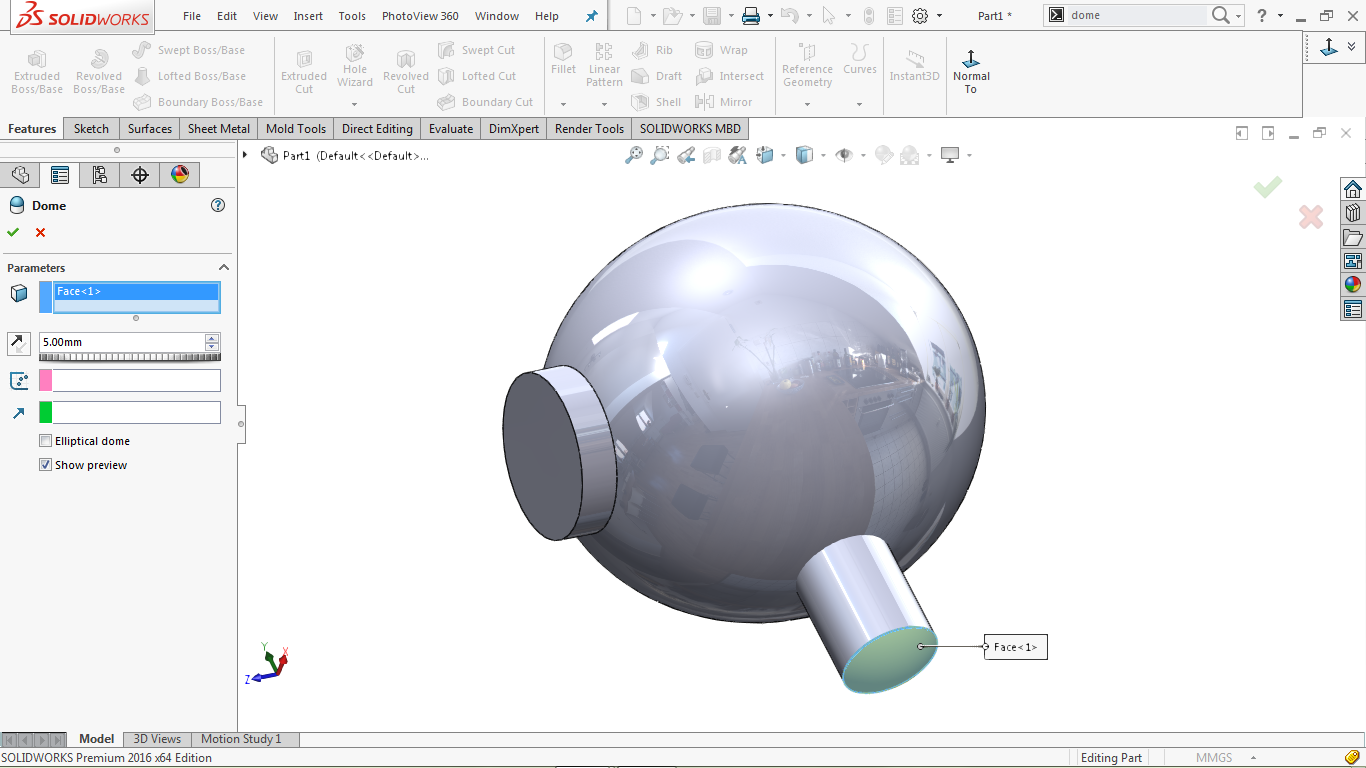Dome Tool/ Feature in solidworks