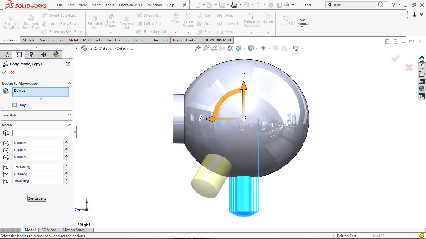 Move/copy body feature in solidworks