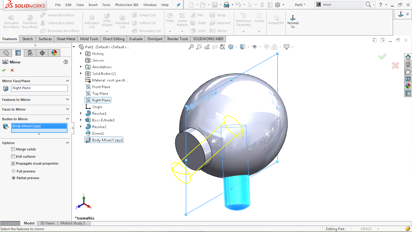 Mirror Feature in solidworks