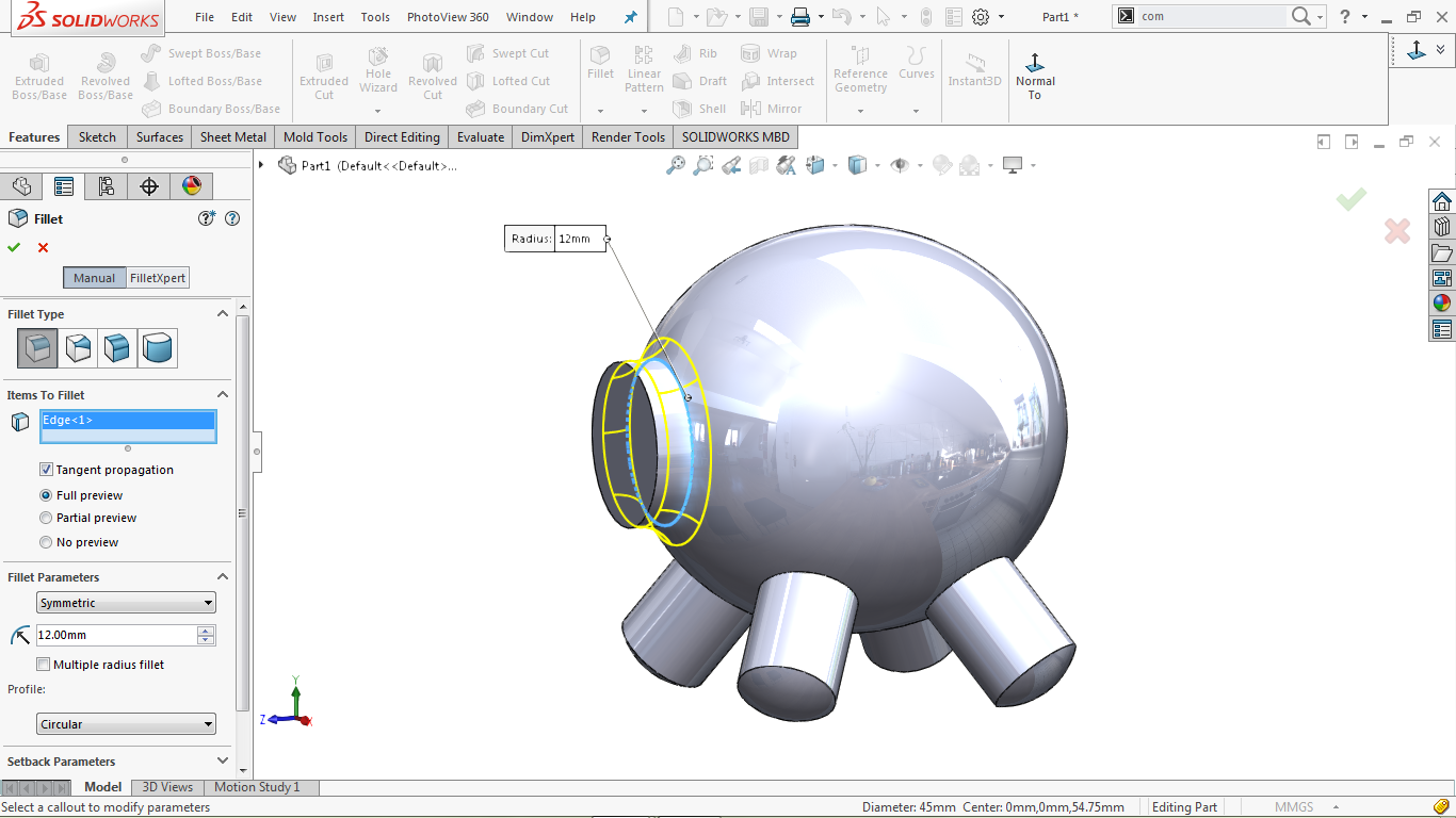 Use of Fillet in solidworks