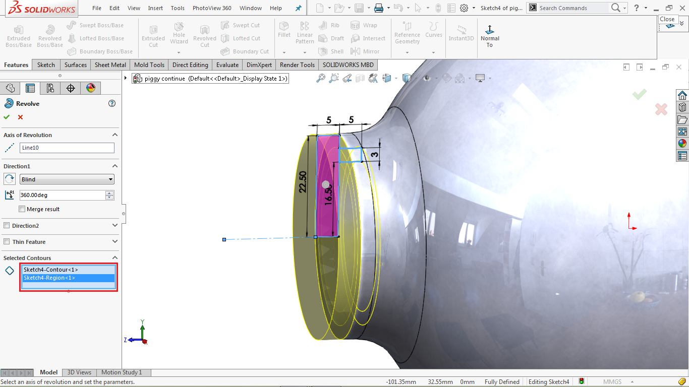 Revolve feature in solidworks