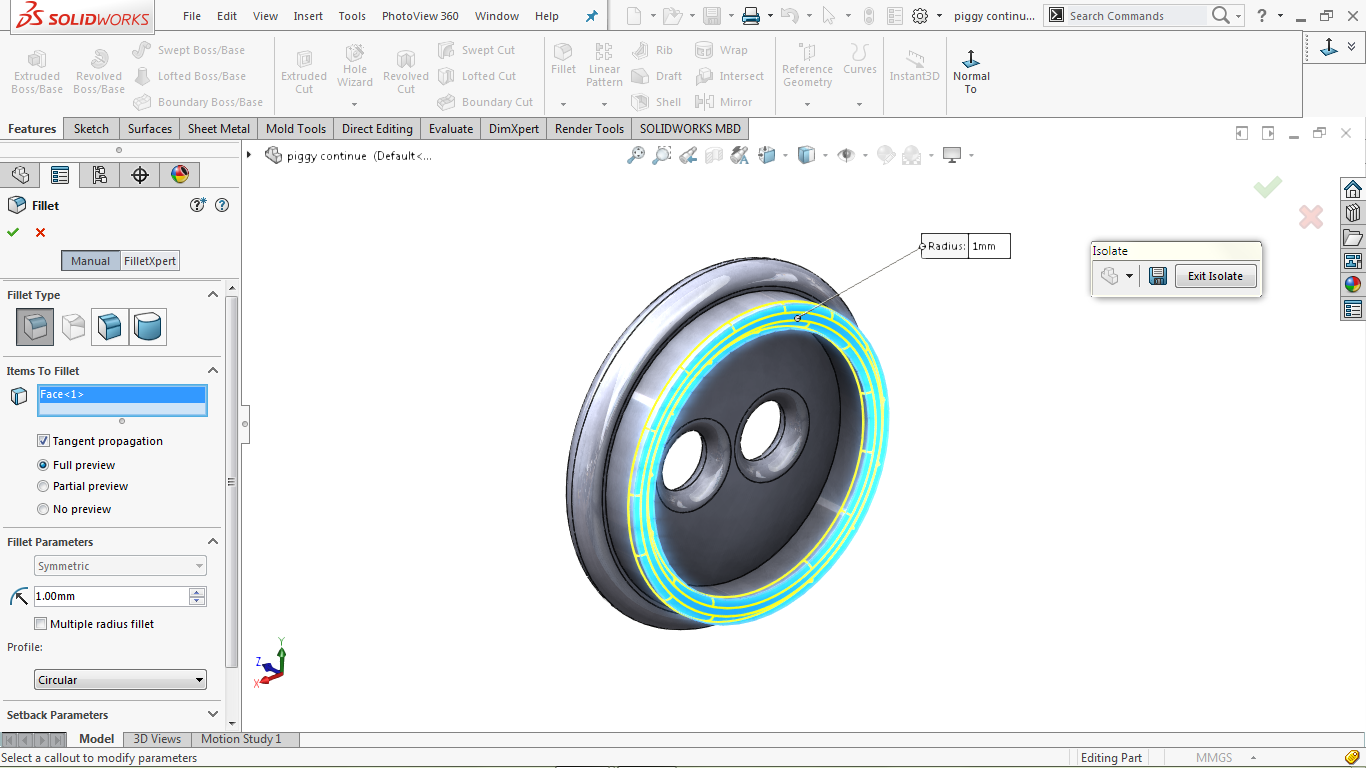 Use fillet in solidworks
