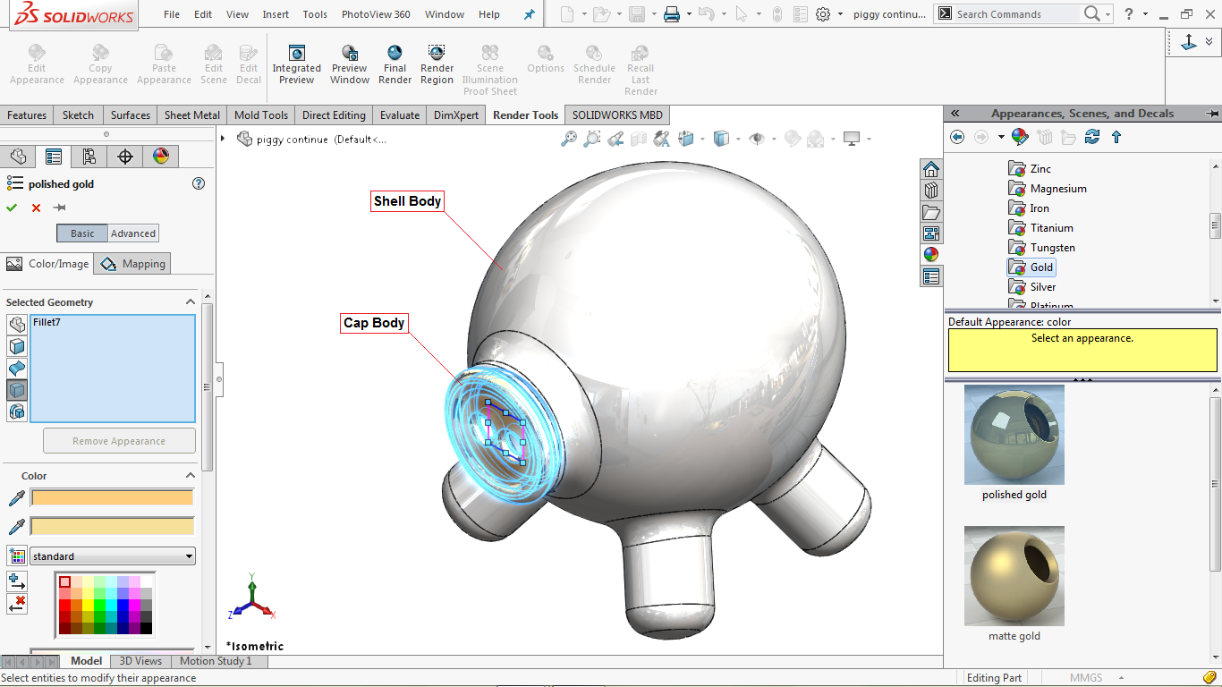 Edit appearance in solidworks
