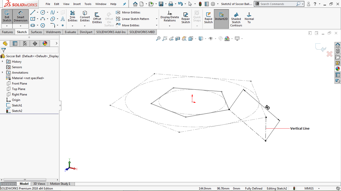 Fully defined centerlines in solidworks
