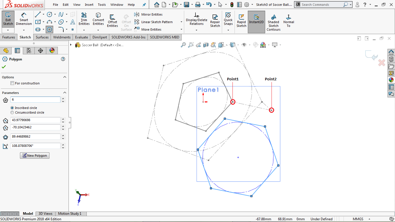 Undefined 2d hexagon in solidworks
