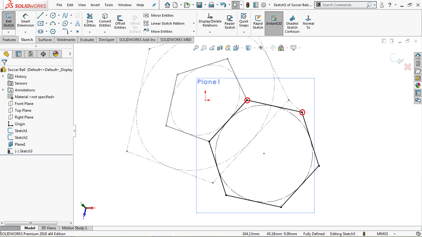 Fully defined 2d hexahonal sketch in solidworks