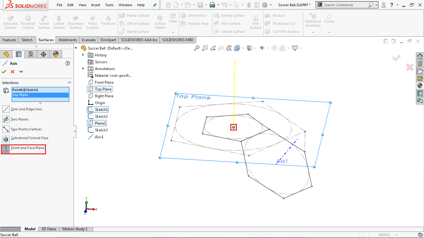 Reference axis in solidworks