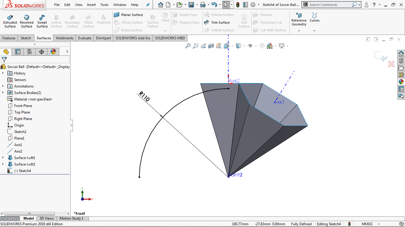 Fully defined 2d centerpoint arc in solidworks