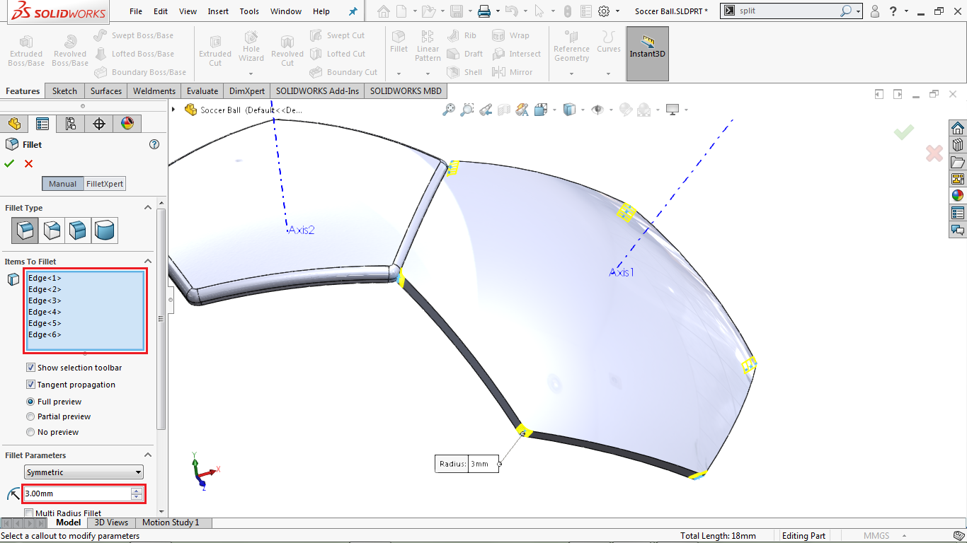 Circular Fillets in solidworks