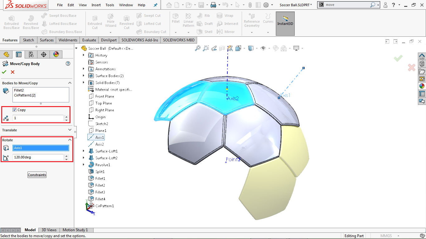 Move/ copy body feature in solidworks