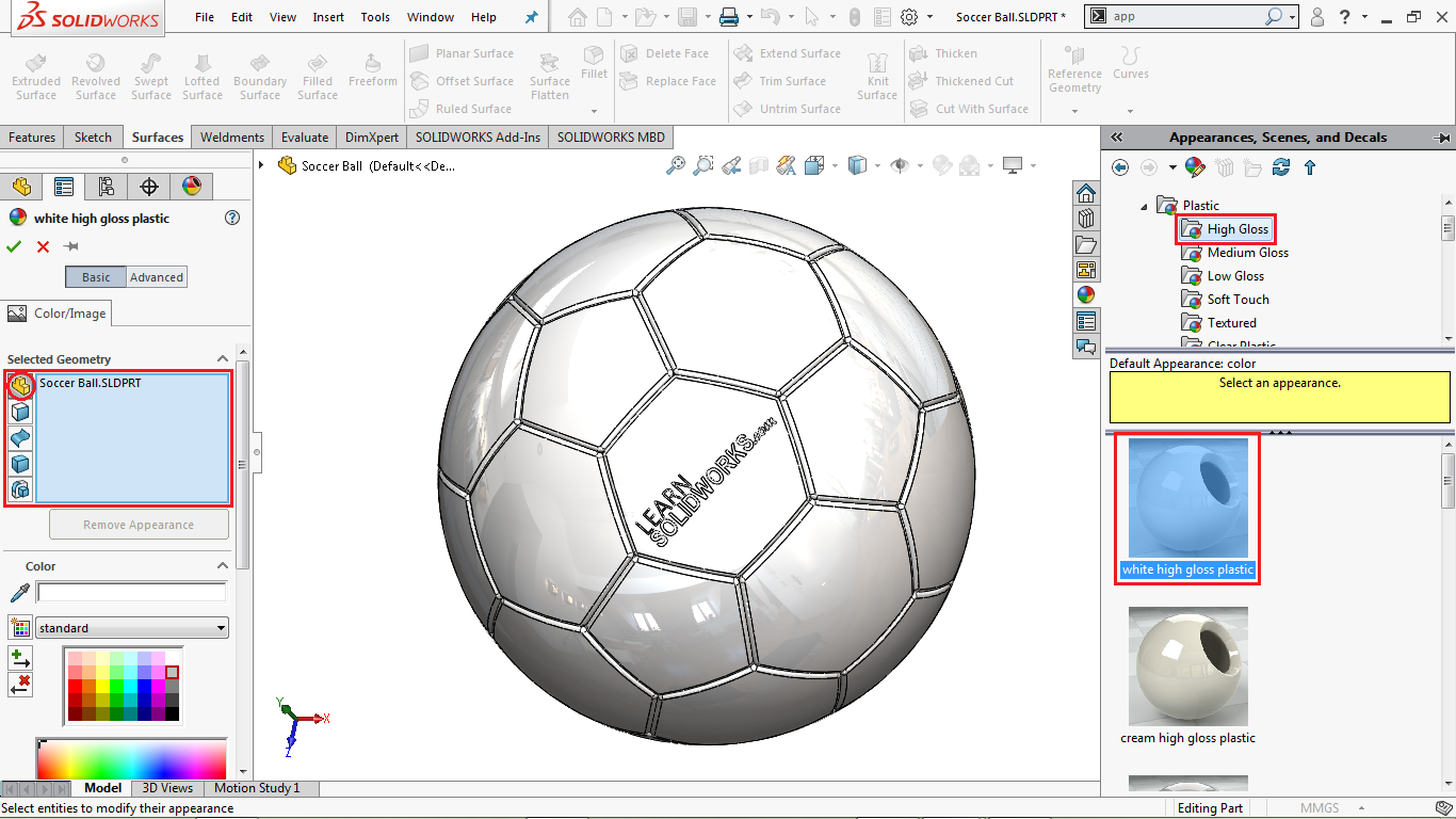 Change appearance in solidworks
