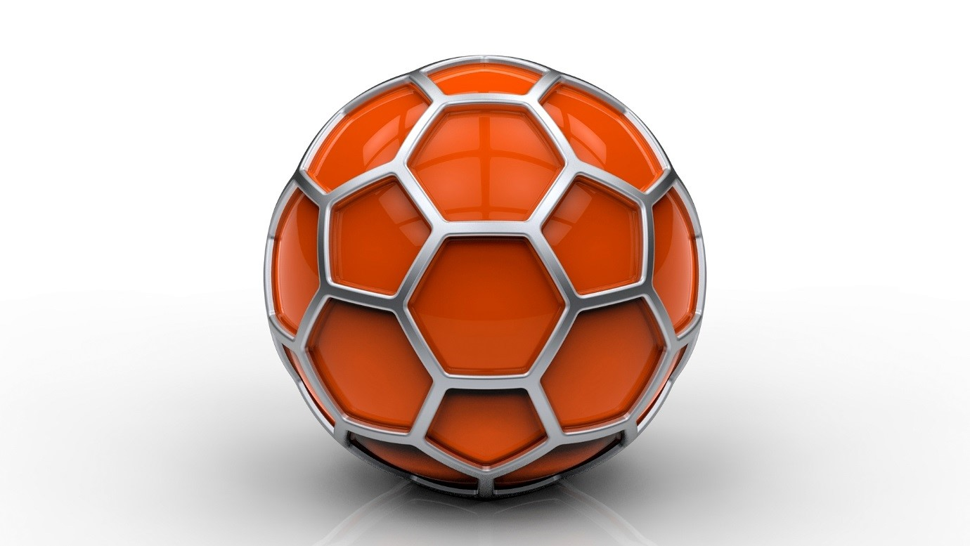 Rendered image of football in solidworks