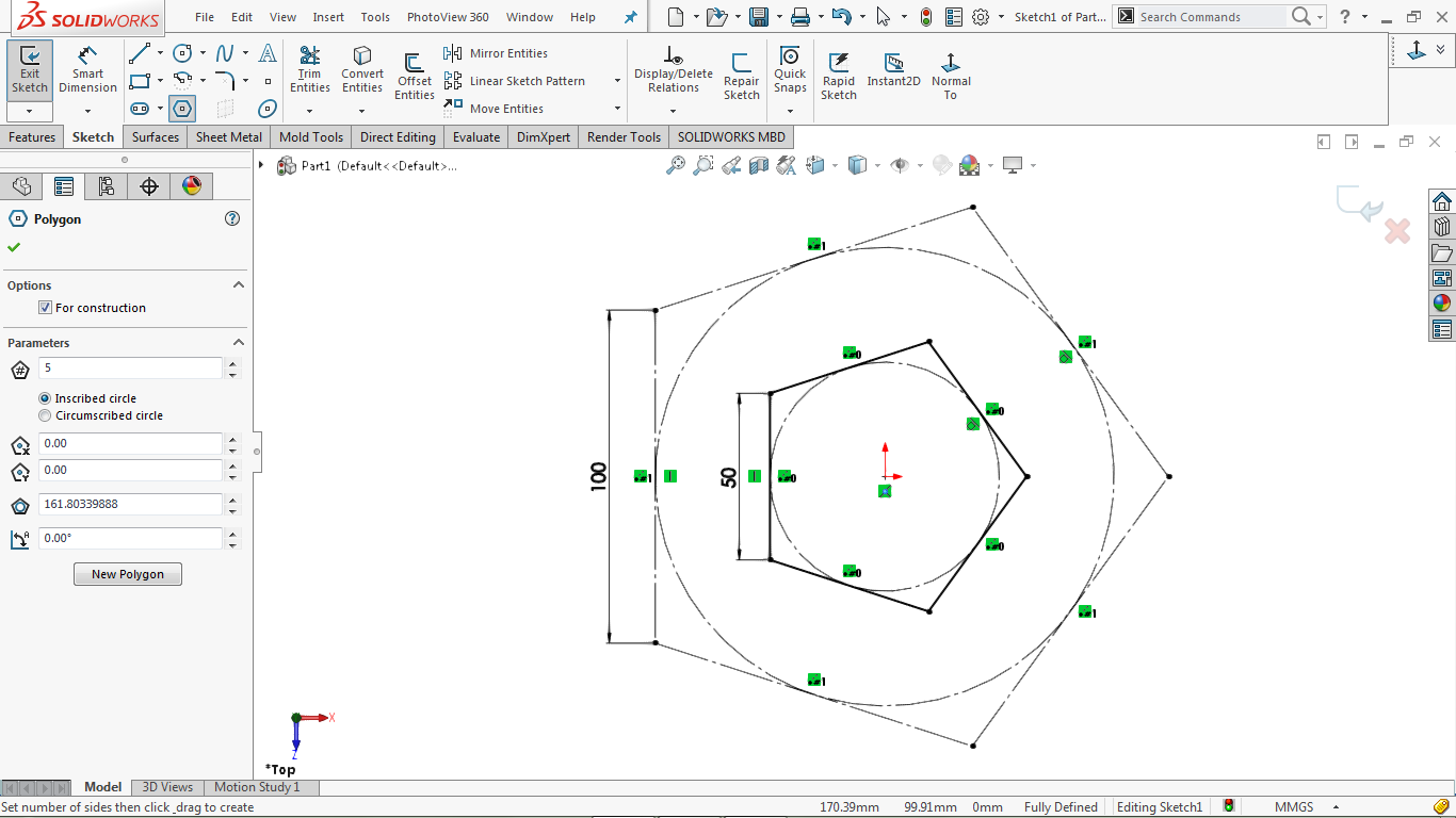 Pentagons in solidworks
