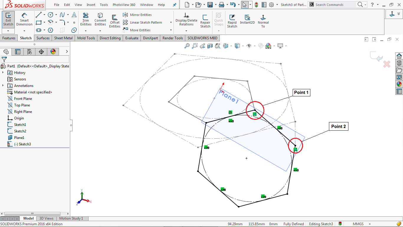 Hexagon on reference plane in solidworks