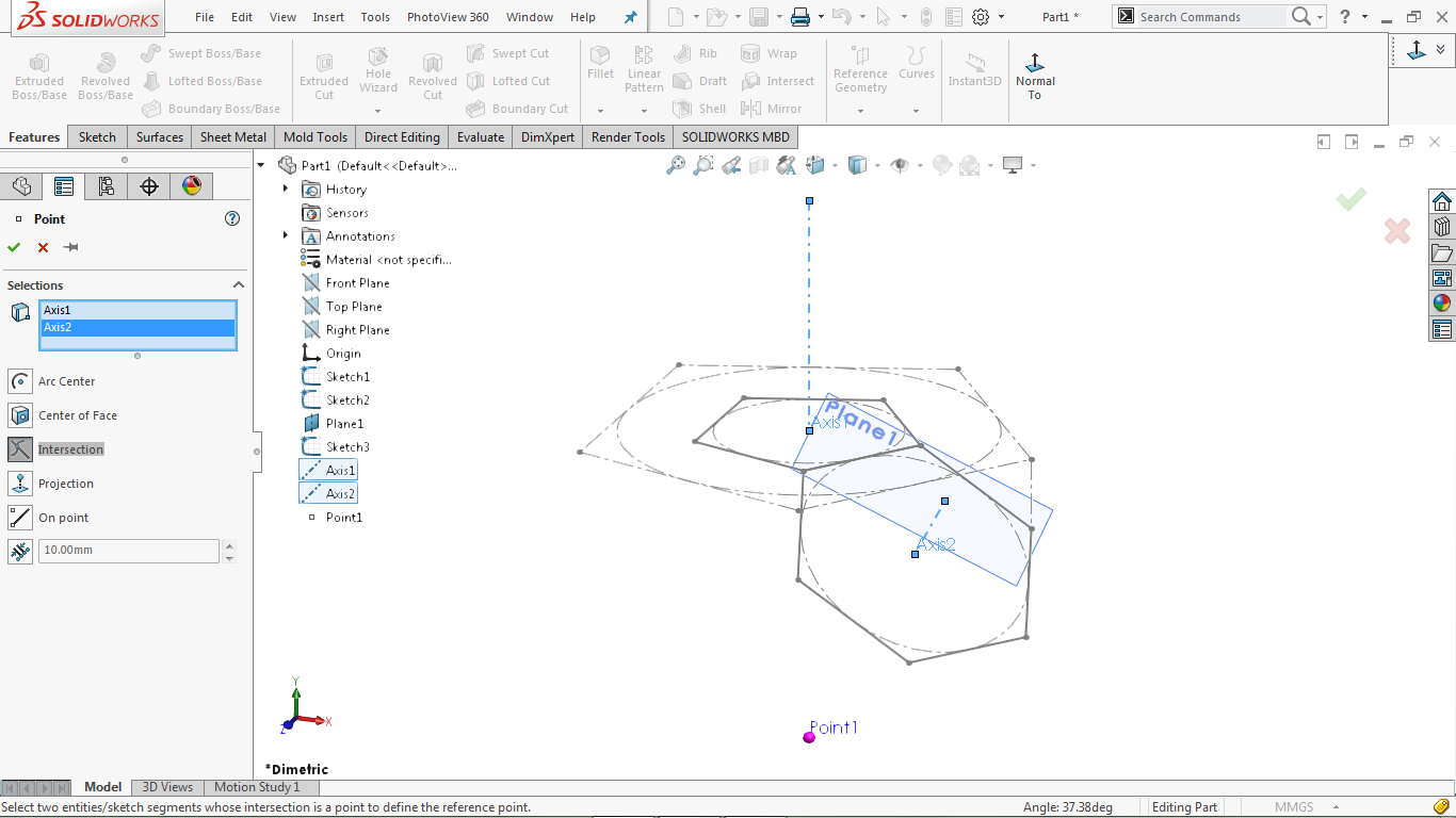 Reference point in solidworks