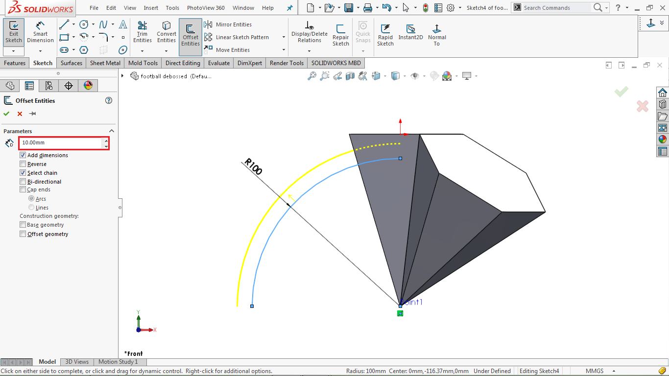 offset arc in solidworks