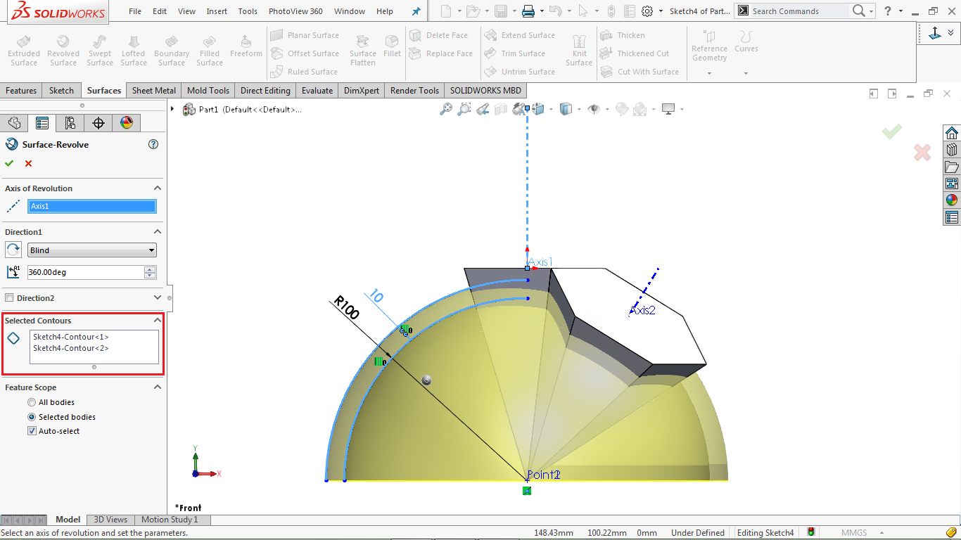 Revolve surface in solidworks
