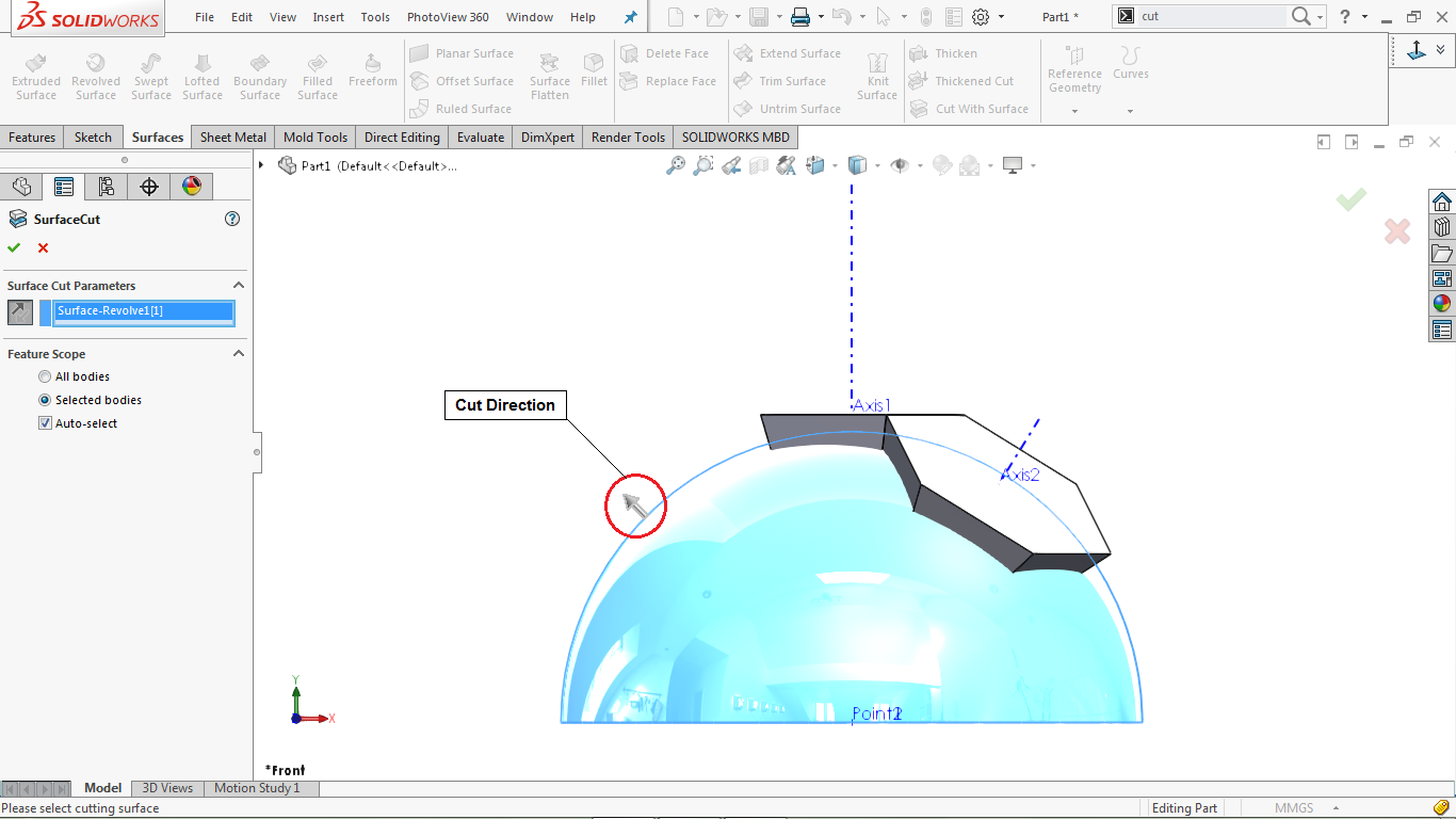 Cut with surface in solidworks