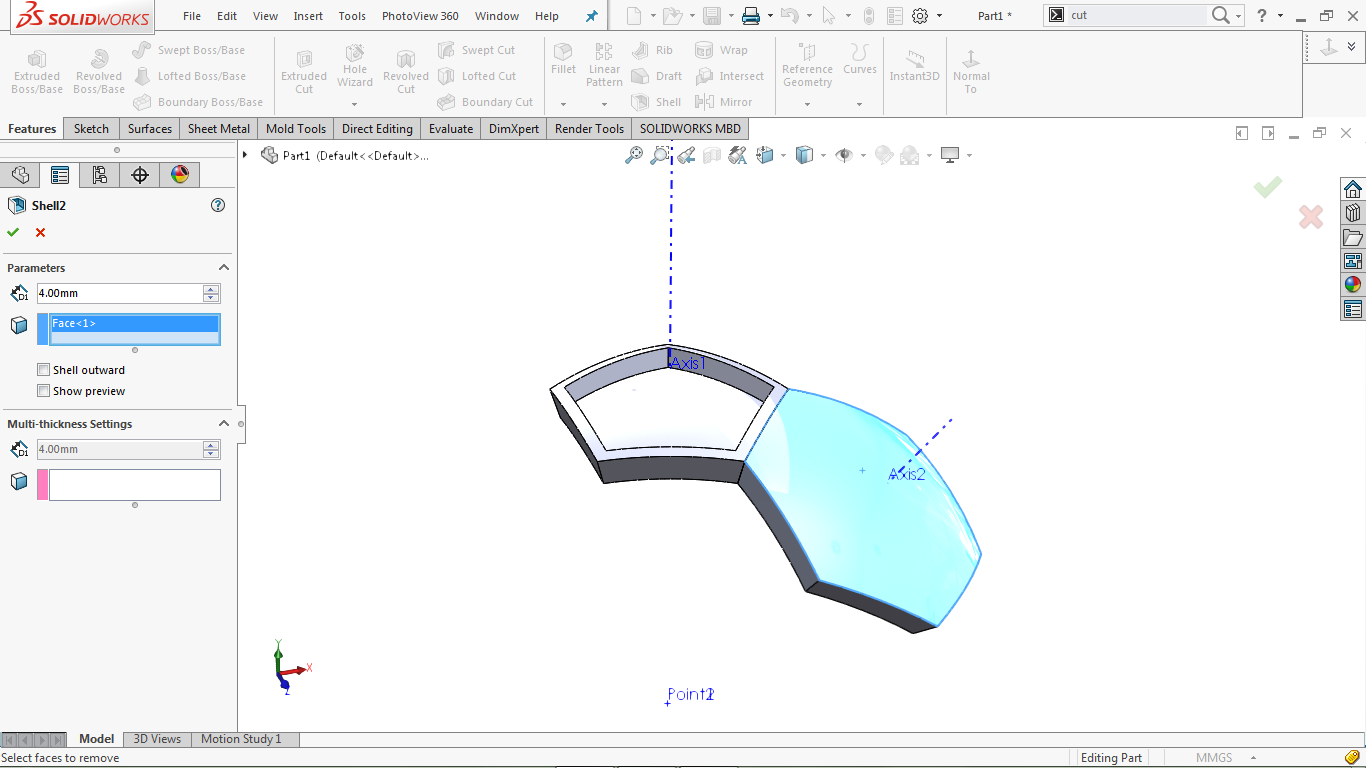 Shell in solidworks
