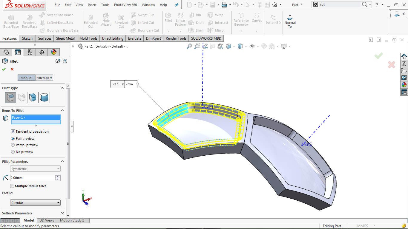 Fillet edges in solidworks