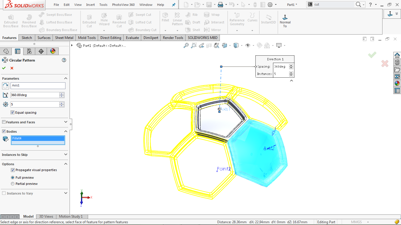 Circular pattern of solid body in solidworks