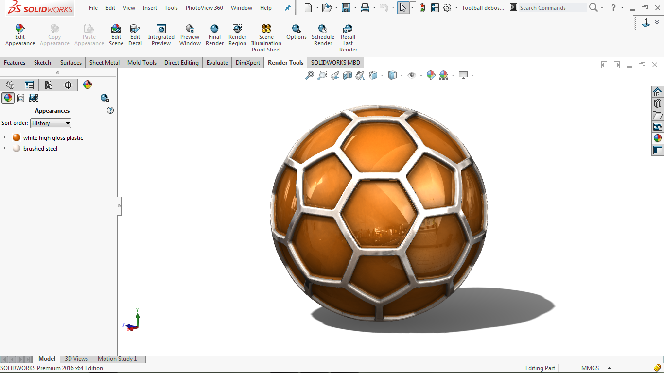 real view image of football in solidworks