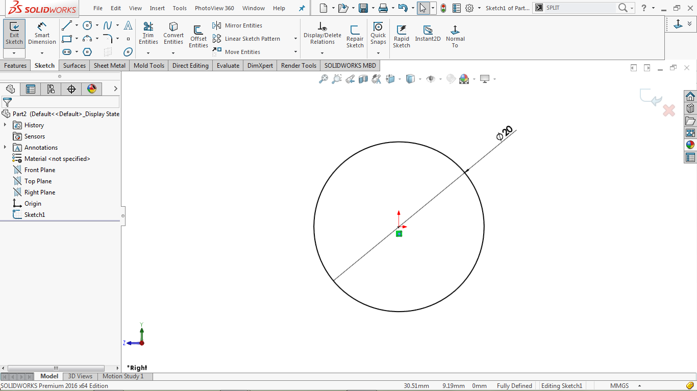 2d sketch in solidworks