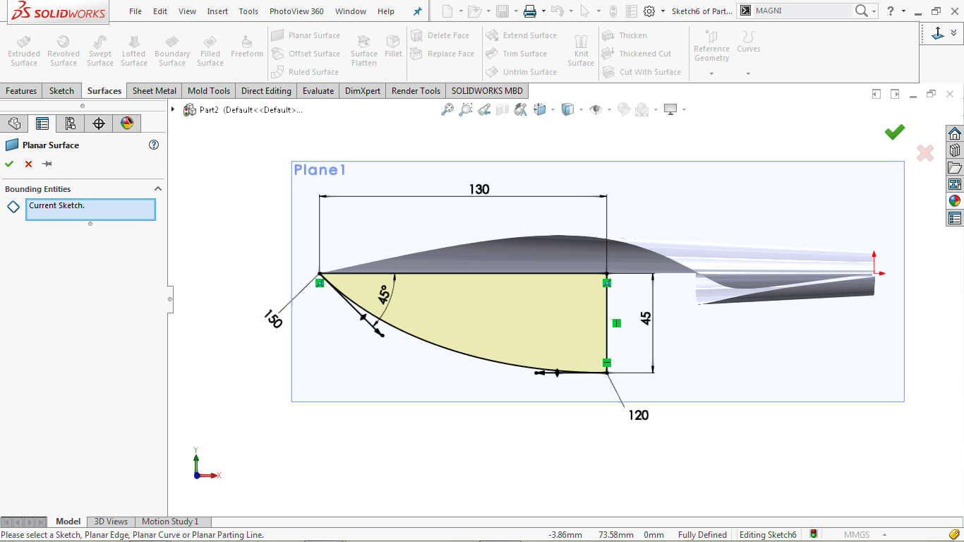 Planar surface command in solidworks