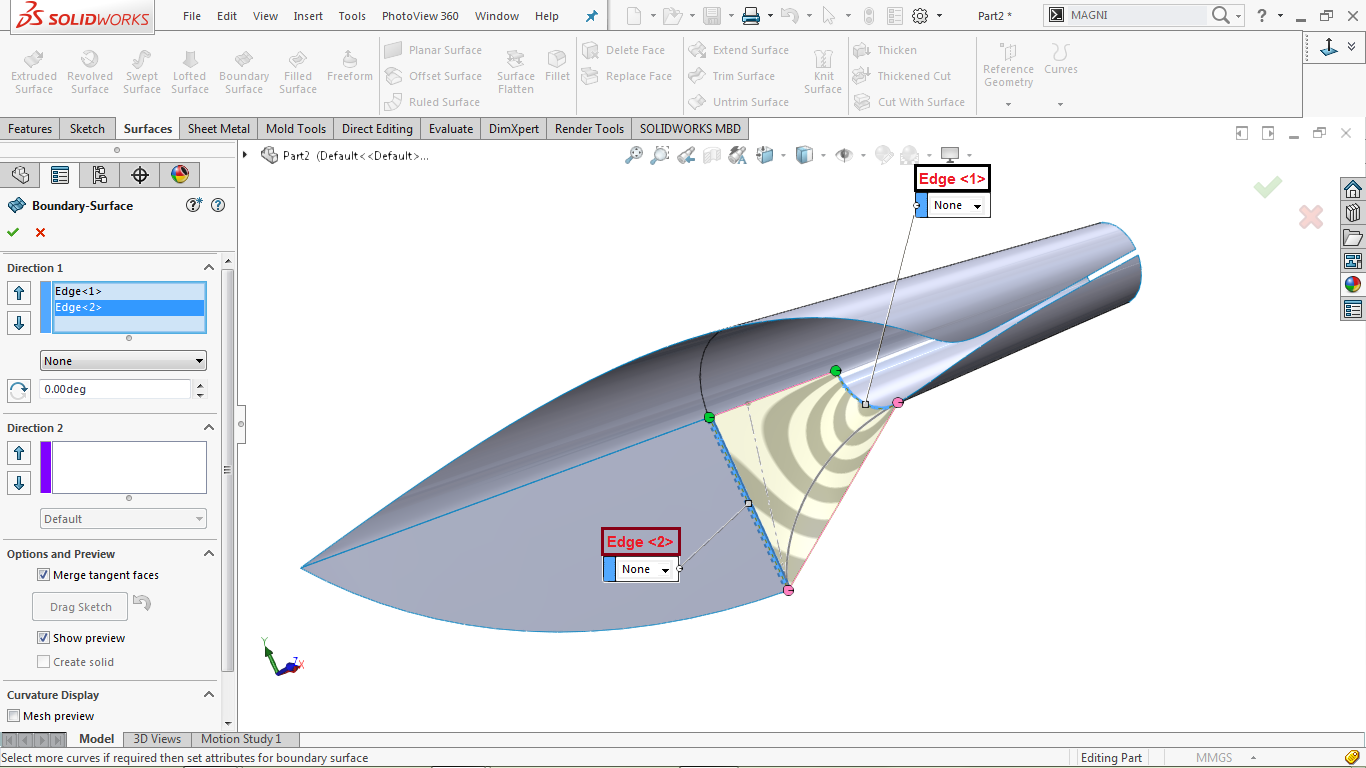 Boundary surface in solidworks