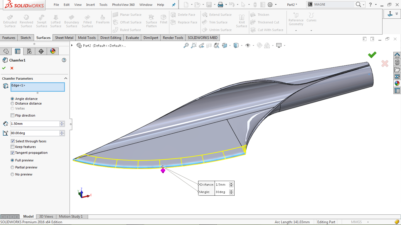 Chamfer tool in solidworks