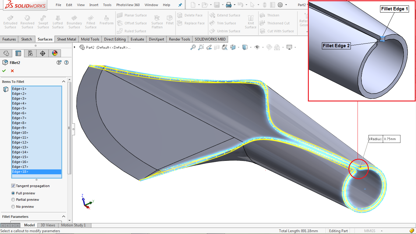 Fillet on edges in solidworks