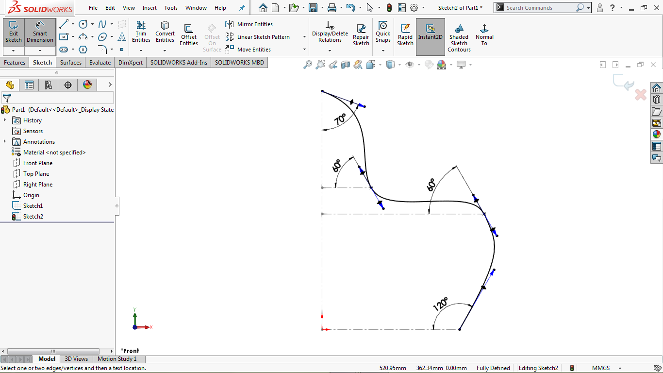 Partially defined spline in solidworks