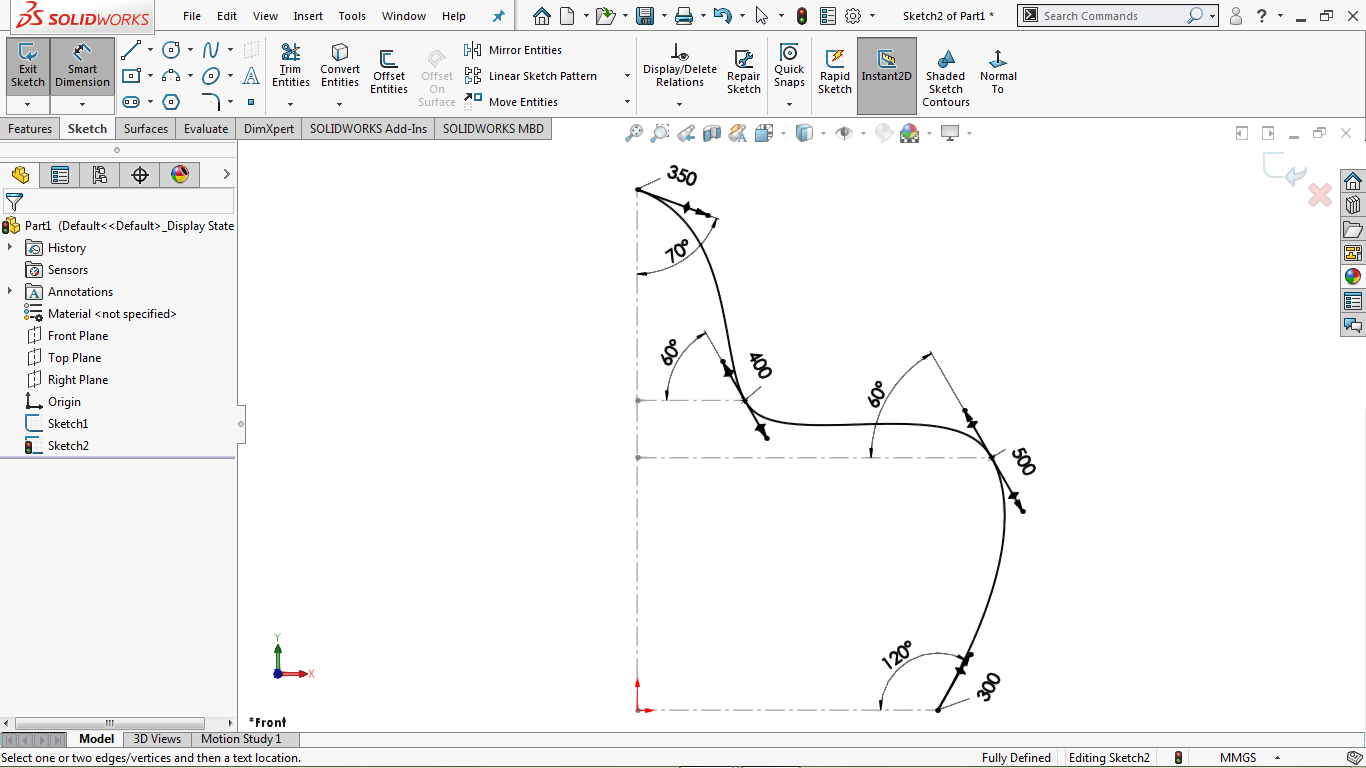 Fully defined spline in solidworks