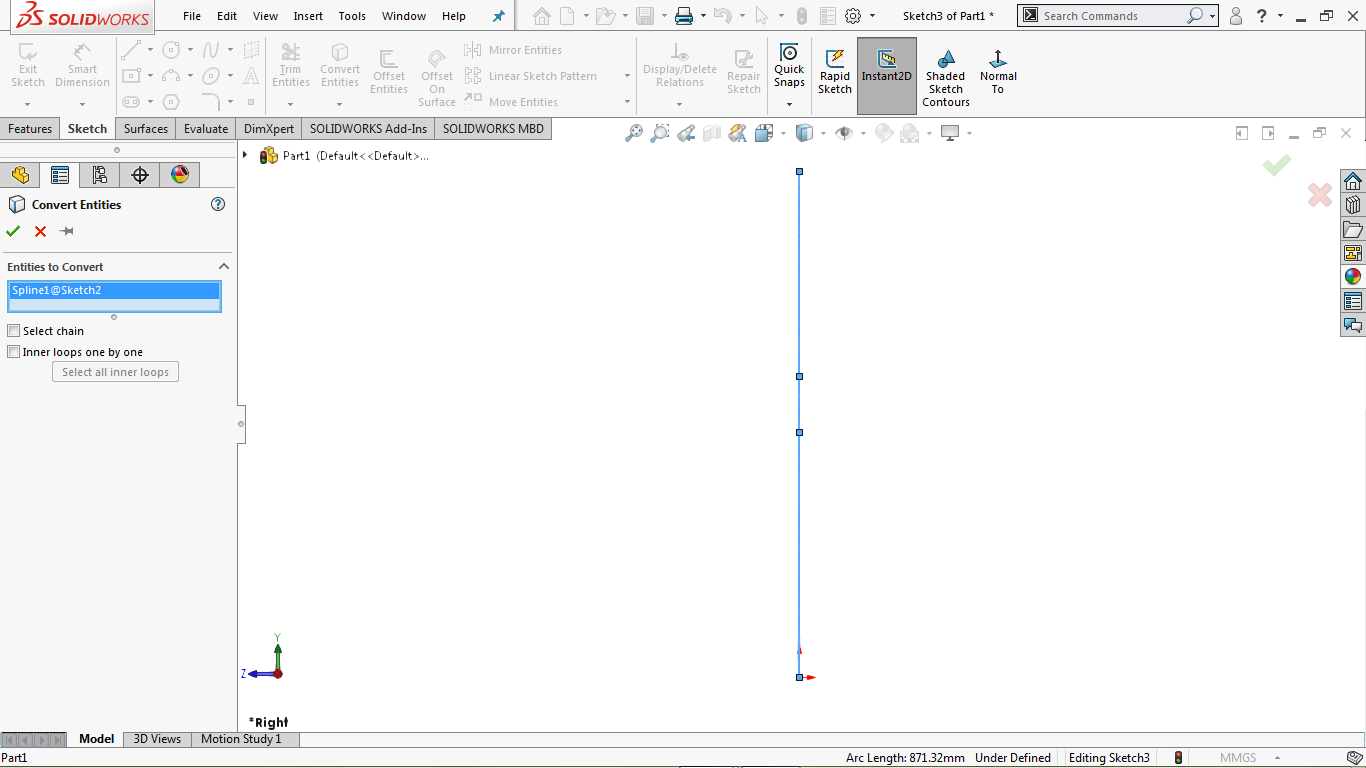 Converted entities commnad in solidworks