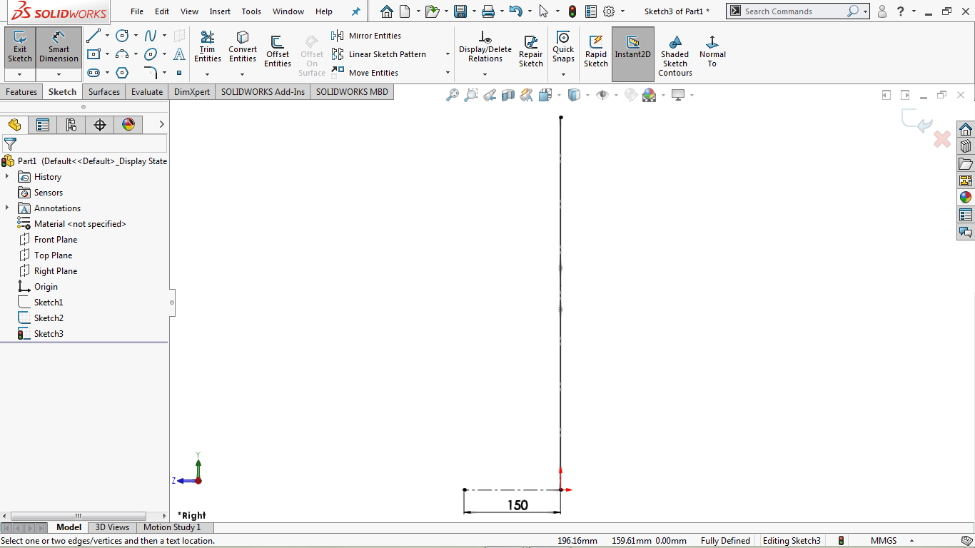 Vertical and horizontal line in solidworks