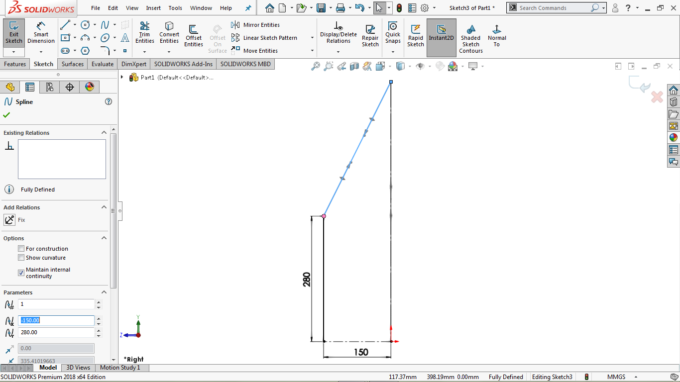 Two point spline without any midpoints in solidworks