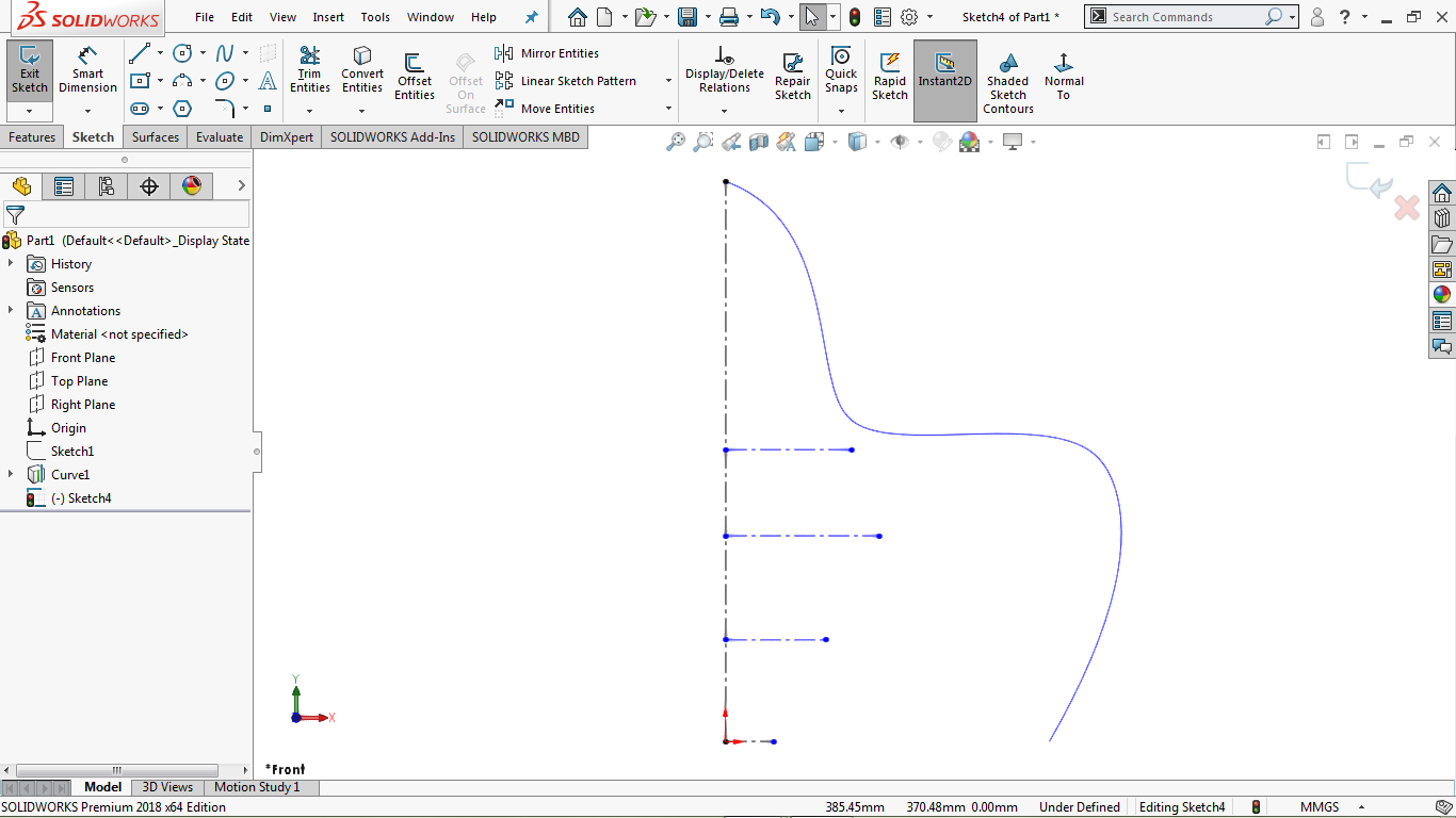 vertical and horizontal centerlines in solidworks