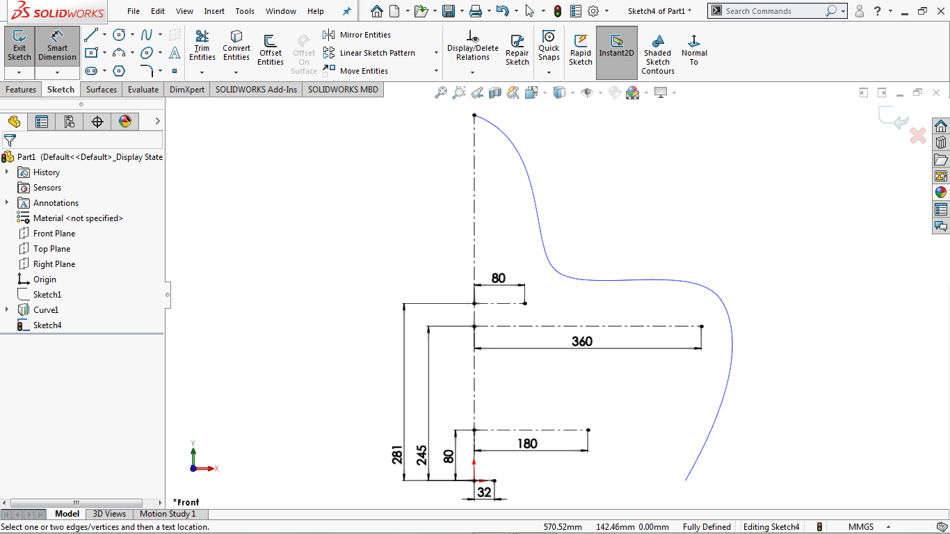 Fully defined sketch iin solidworks