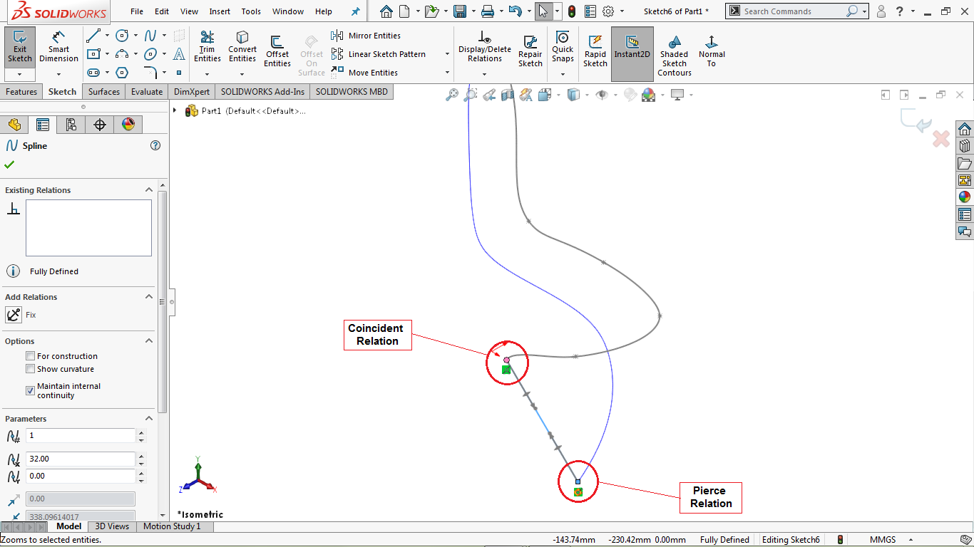 Two point spline in solidworks
