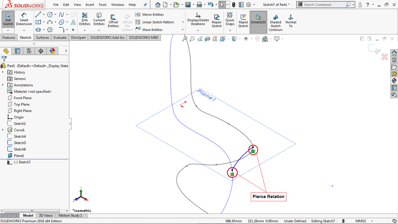 Partially defined 3 point arc in solidworks