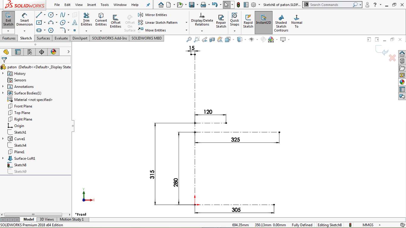 A fully defined sketch iin solidworks