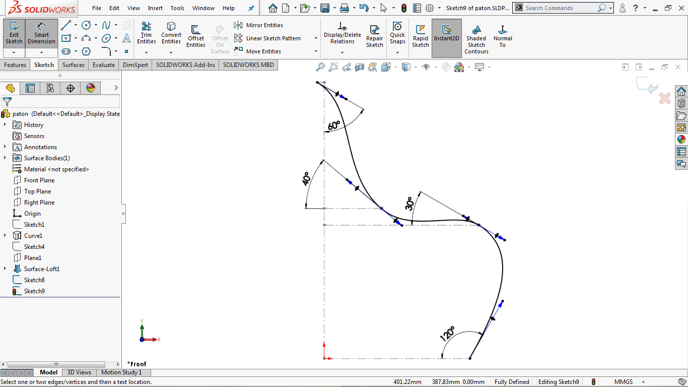 A partially defined spline in solidworks