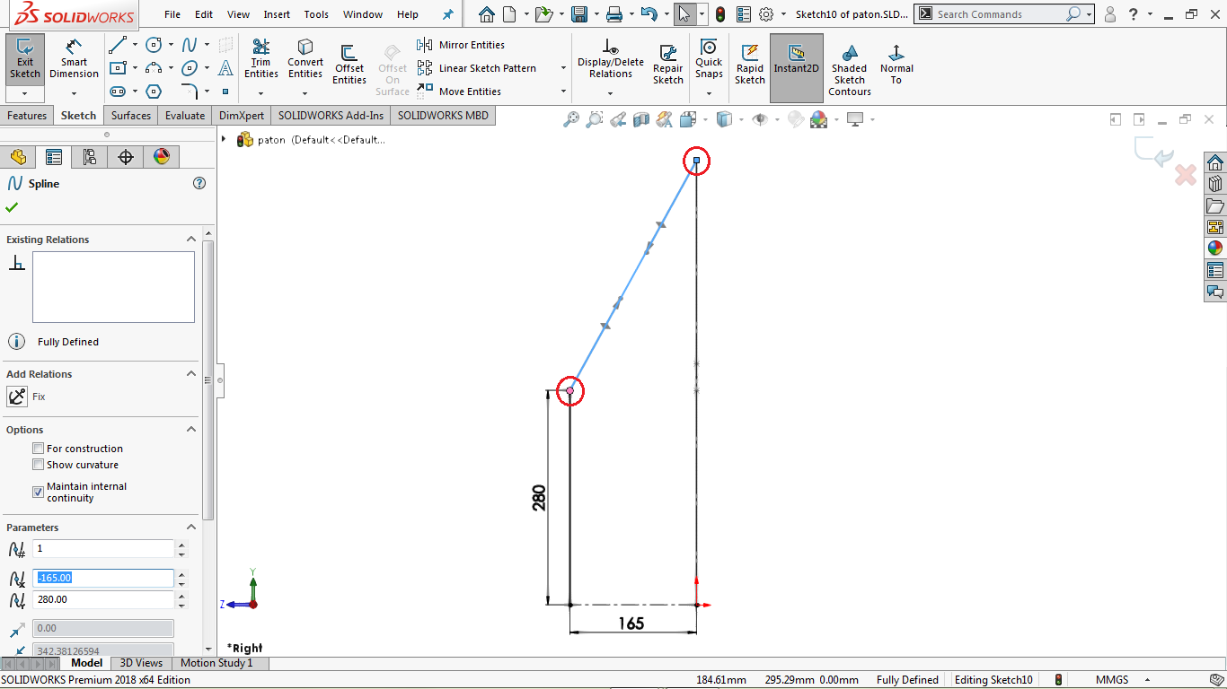 A two point spline in solidworks